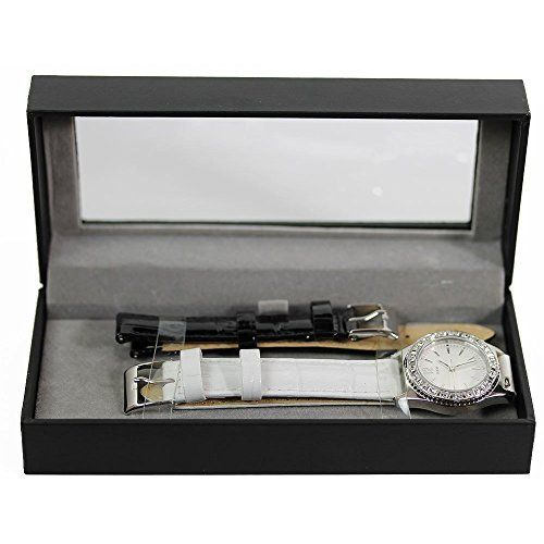 Guess Womens Crystal Accented Silver Dial White