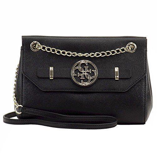 Guess Womens Katlin Convertible Black Crossbody Handbag -- More info could be fo...
