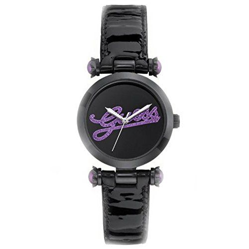 Guess Womens On Trend Iconic Style Purple Glitz Logo Black Patent Leather Strap ...