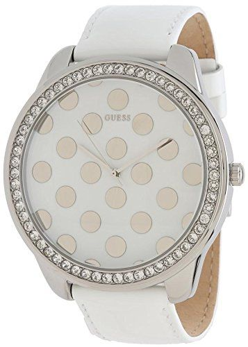Guess Womens Oversized White Dotty Dial Crystal Accented SS Case Leather Watch W...