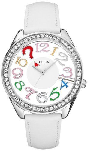 Guess Womens U11066L1 White Leather Quartz Watch with White Dial * Check out the...