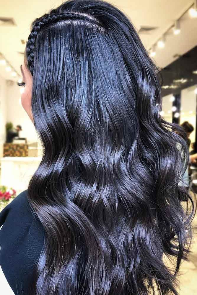 Black Hair With Blue Undertone #brunette #wavyhair ❤️ Want to pull off blue ...