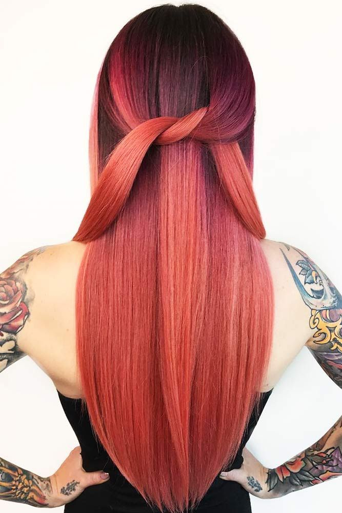 Black To Red Ombre #redhair #brunette #ombre ❤️ Discover the red hair color ...