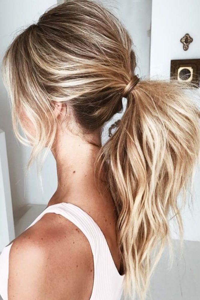Blonde Highlights For Brown Hair Into Ponytail #blondehair #highlights #ponytail...
