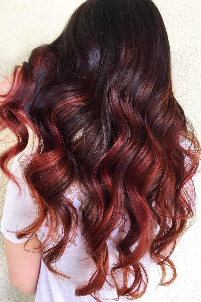 Hair Color 2017 2018 Cherry Highlights On Dark Brown Hair