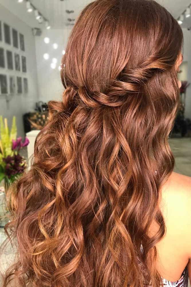 Copper Light Chestnut Brown Hair #brownhair #wavyhair #half-up ❤️ Want to fi...