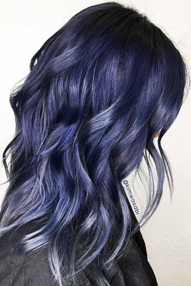 Hair Color 2017 2018 Dark Blue Metallic Hair Color Brunette