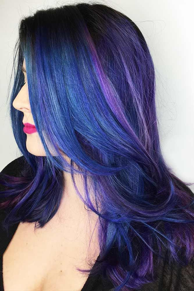 Dark Blue With Purple Tones #brunette #highlights ❤️ Want to pull off blue b...