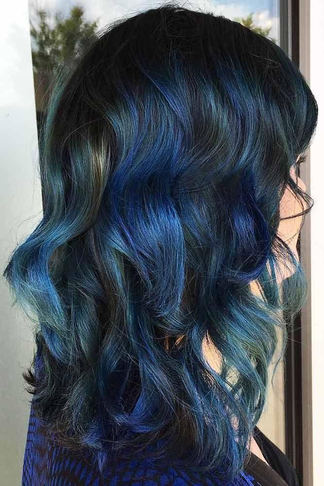 Hair Color 2017 2018 Denim Blue On Black Hair Brunette Bluehair