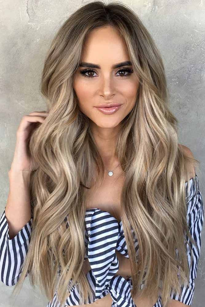 Extra Long Dirty Blonde Hair With Lowlights #longhair #wavyhair #balayage ❤️...