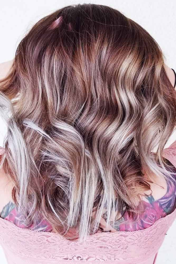 Grey And Blonde Colored Highlights For A Hologram Effect #brunette #blondehair #...
