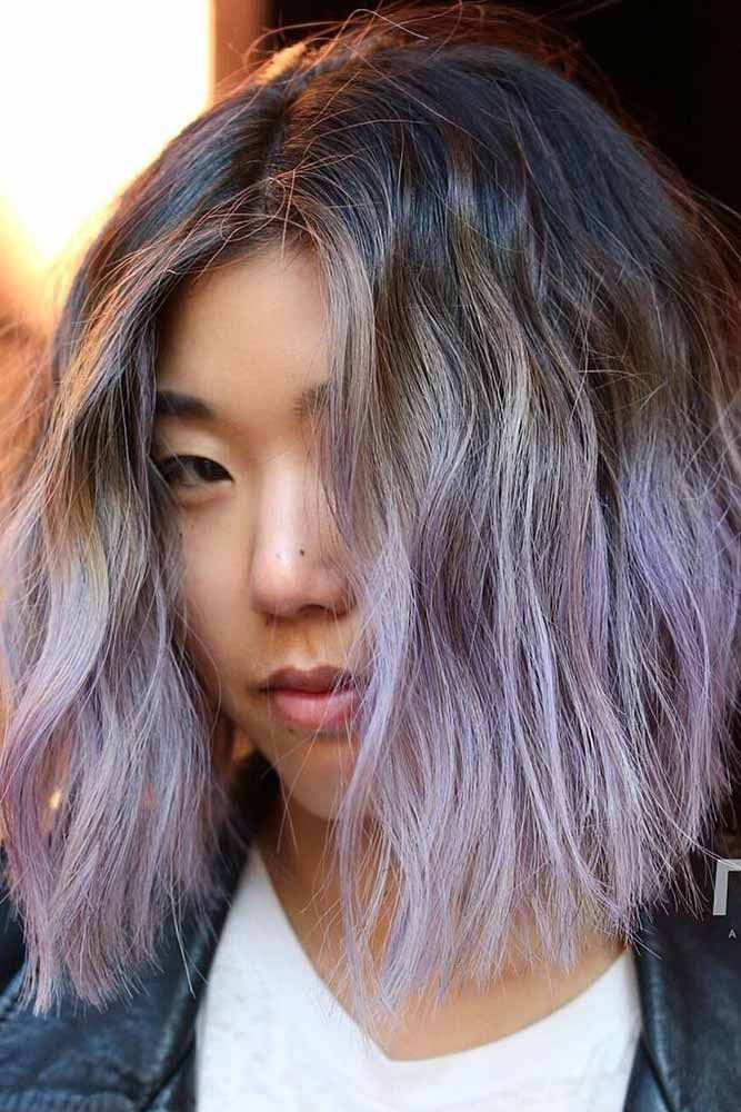 Lavender Highlights For Brown Hair #lavenderhair #brunette #ombre ❤️ Looking...