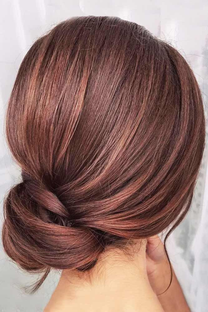 Light Chestnut Brown With Hints Of Red #brownhair #bun ❤️ Want to find some ...