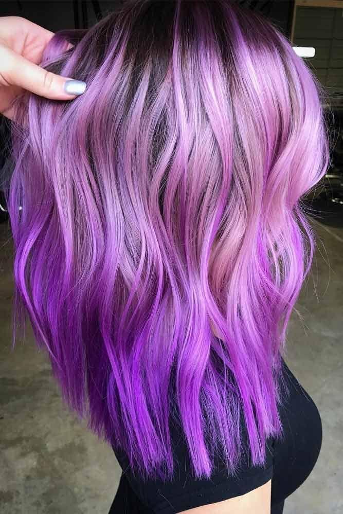 Light Purple Hues For Long Hair #purplehighlights #highlights #haircolor #hairst...