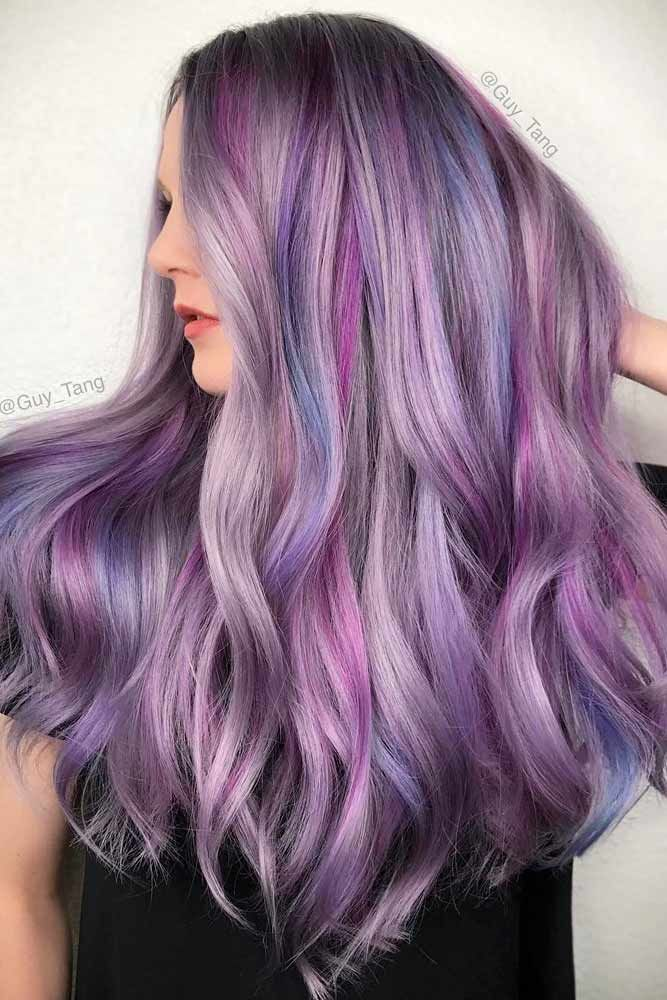 Long Middle Part Hairstyle With Pastel Highlights  #purplehighlights #highlights...