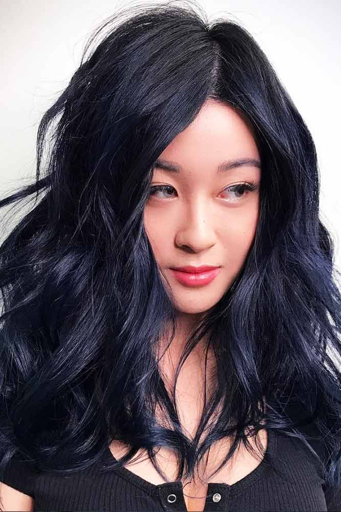 Midnight Blue Black Hair Color #brunette #wavyhair ❤️ Want to pull off blue ...