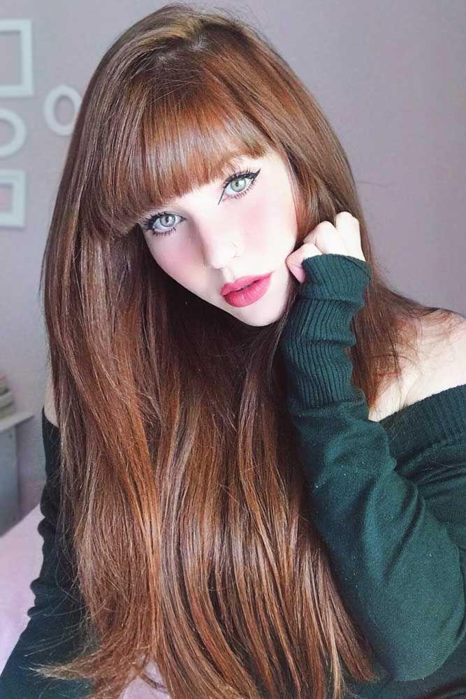 Pale Auburn Color #longhair #redhair #bangs ❤️ Summer hair colors 2018 will ...