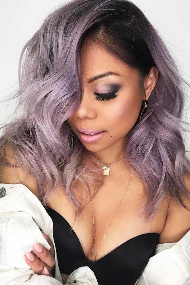 Pastel Lavender Hair With Dark Roots #lavenderhair #wavyhair ❤️ Looking for ...