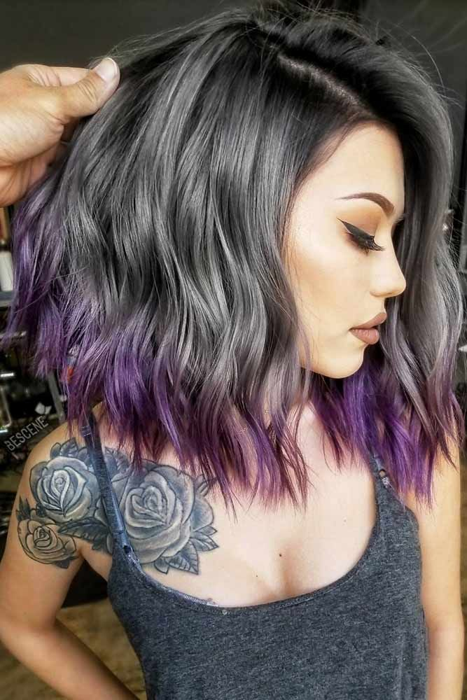 Hair Color 2017 2018 Purple Ombre For Dark Hair Purplehighlights