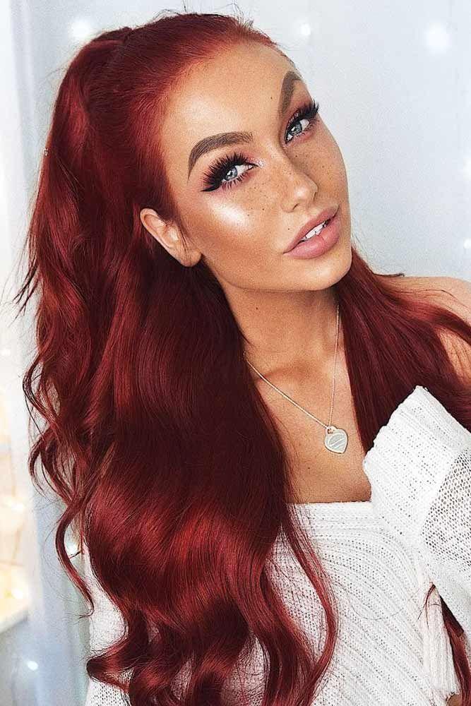 Sexy Burgundy Hair #redhair #longhair #ponytail ❤️ Summer hair colors 2018 w...