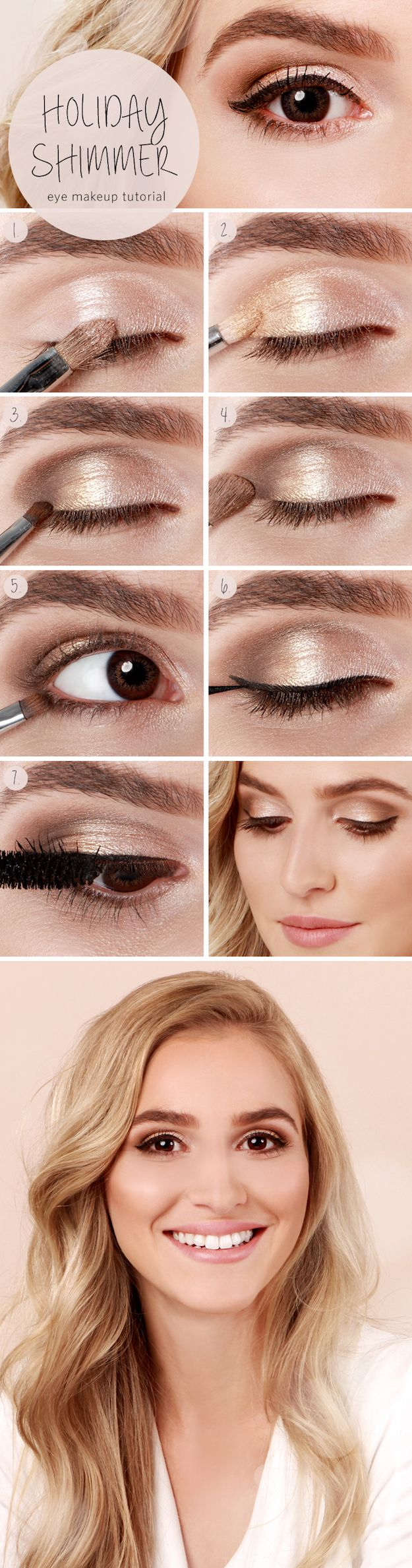 31 Makeup Tutorials for Brown Eyes - Holiday Shimmer Eye Tutorial -Great Step by...