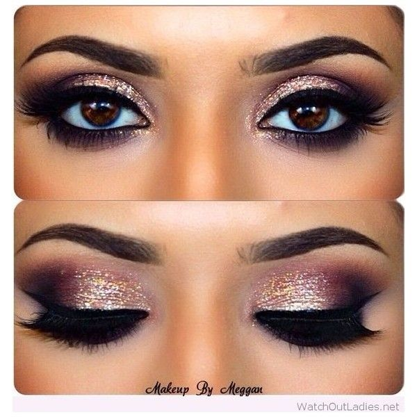 Gold and burgundy eye makeup with black details ❤ liked on Polyvore featuring ...