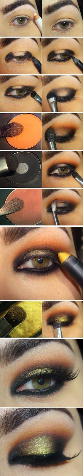 Wonderful Golden , Yellow Shade with Orange and Black Makeup Tutorials / Best Lo...