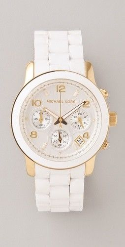 Fashionable women's watch in white with diamonds & traditional link bracelet...