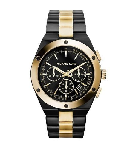 MICHAEL KORS WOMEN'S BLACK STAINLESS YELLOW GOLD TONE ACCENT CHRONO WATCH MK...