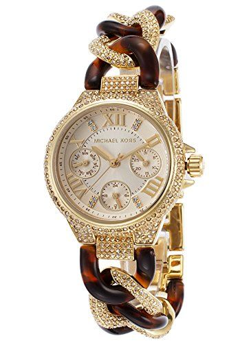Michael Kors Camille Champagne Dial Tortoise and Steel Ladies Watch MK4290 ** De...