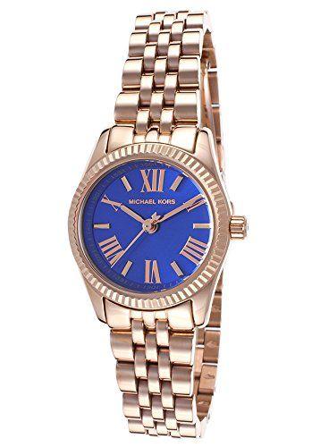 Michael Kors MK3272 Women's Lexington Petite Rose Golden Blue Dial Watch ***...