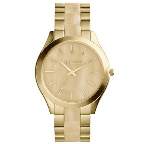 Michael Kors MK4285 Women's Runway Horn and Gold-Tone Stainless Steel Bracel...