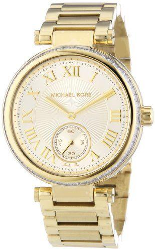 Michael Kors MK5867 Womens Skylar Champagne Dial GoldTone Stainless Steel Bracel...