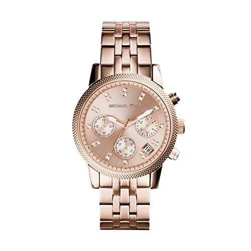 Michael Kors MK6077 Ladies Ritz Rose Gold Plated Chronograph Watch *** You can f...