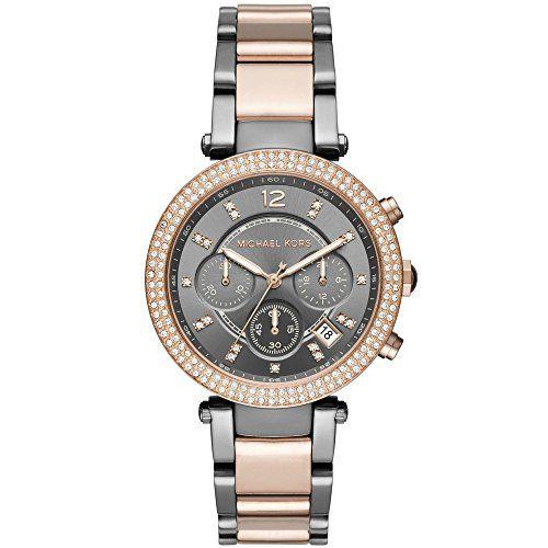 Michael Kors MK6440 Womens Parker TwoTone Rose Gold Gunmetal Chronograph Watch *...