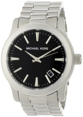 Michael Kors Men's MK7052 Silver and Black 3 Hand Watch *** This is an Amazo...