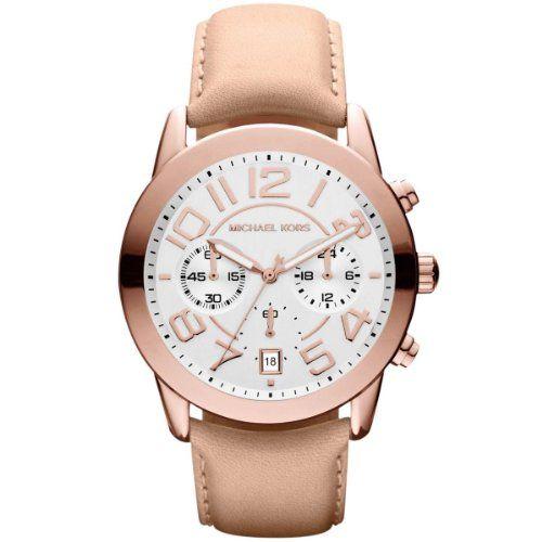 Michael Kors Mercer Chronograph White Dial Rose Gold-Tone Steel Ladies Watch MK2...