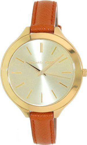 Michael Kors Mid-Size Orange Leather Runway Three-Hand Women's watch