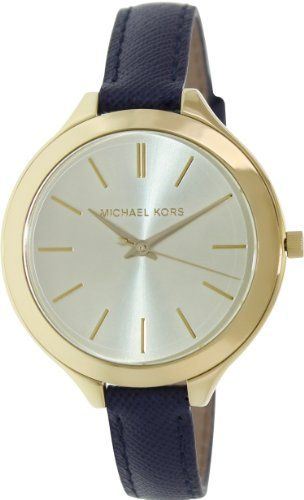 Michael Kors Mid-Size Runway Gold-Tone Dial Blue Leather Ladies Watch MK2285 ***...