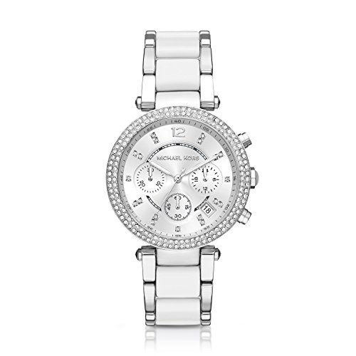 Michael Kors Parker White / Silver Chronograph Watch *** Check out the image by ...