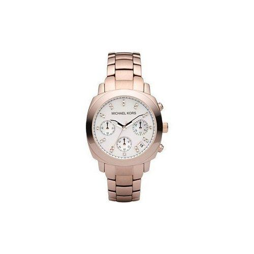 Michael Kors Rose Gold Stainless Steel Mop Dial With Crystals Chronograph Watch ...