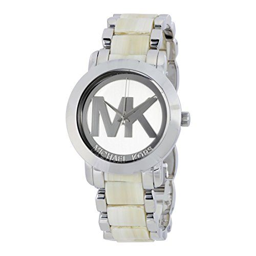 Michael Kors Silver Dial Steel and Beige Acrylic Ladies Watch MK4304 * You can f...