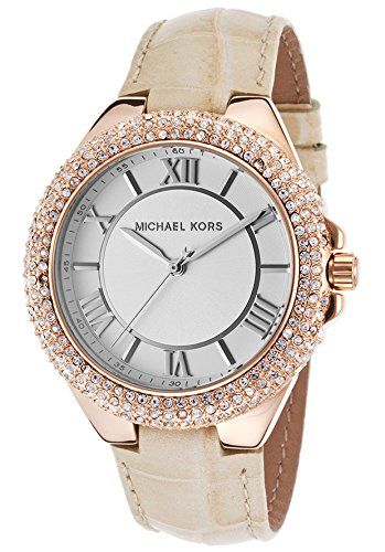 Michael Kors Slim Camille White Dial Beige Leather Ladies Watch MK2330 *** Want ...