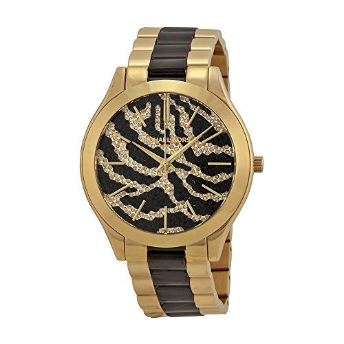 Michael Kors Slim Runway Zebra-pattern Crystal Pave Dial Two-tone Ladies Watch M...