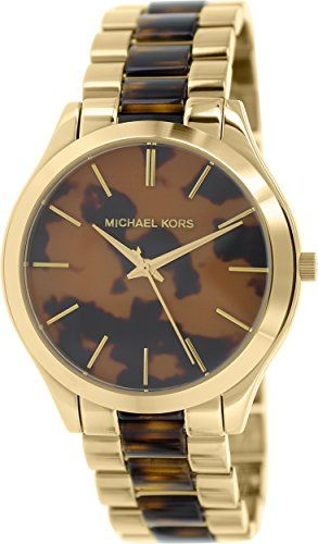 Michael Kors Watches Slim Runway Women's Watch (Gold and Horn) * Learn more by v...