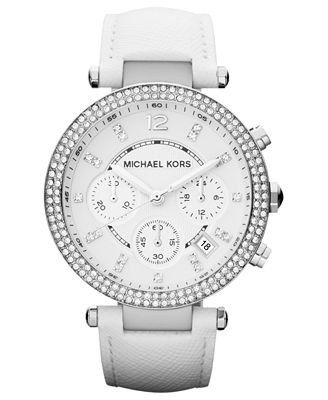 Michael Kors Women's Chronograph Parker White Leather Strap Watch 39mm Mk227...