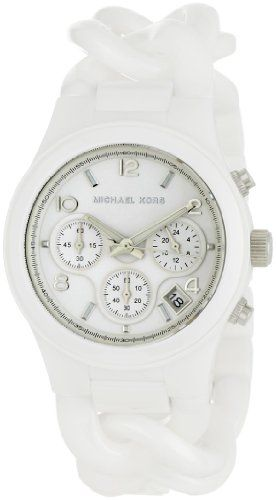 Michael Kors Women's MK5387 Ceramic Classic Chronograph White Watch -- Learn...