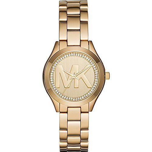 Michael Kors Women's Mini Slim Runway Gold Watch MK3477 -- Check out this gr...