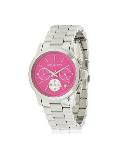 Michael Kors Women's Runway Watch, Silver/Pink, One Size -- Find out more ab...