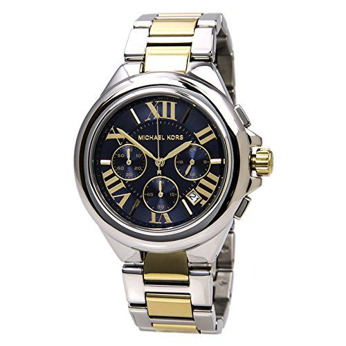 Michael Kors Womens Camille Two Tone Bracelet Blue Dial Watch MK5758 * Be sure t...